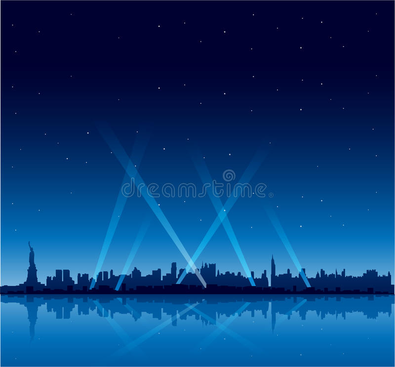 New York City au fond de copyspace de nuit illustration libre de droits