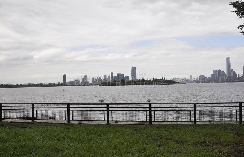 New York City,August 2nd:Ellis Island and Manhattan over Hudson river from New York City stock photography