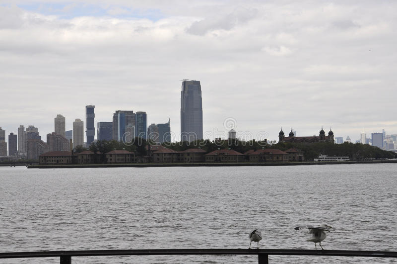 New York City,August 2nd:Ellis Island over Hudson river from New York City stock image