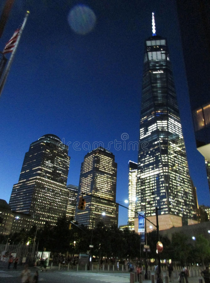 New York City,August 2nd:Freedom Tower Building by night in Manhattan from New York City stock photo