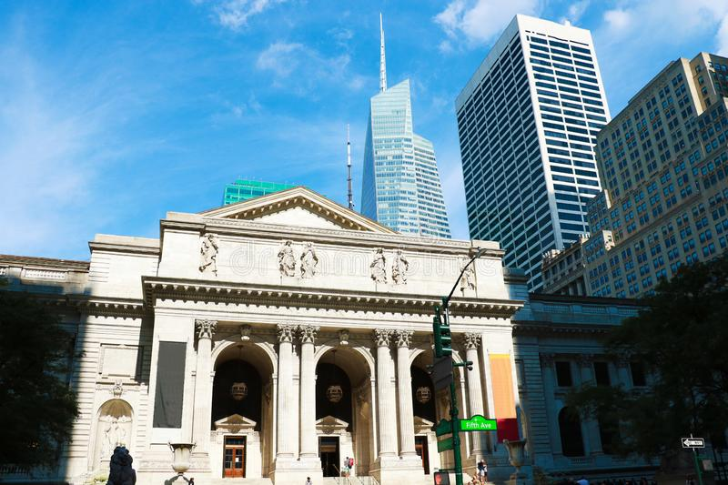 NEW YORK CITY - AUGUST 25: The New York Public Library, founded in 1895 at 5th Avenue on August 25, 2018 in Manhattan, New York.  royalty free stock image
