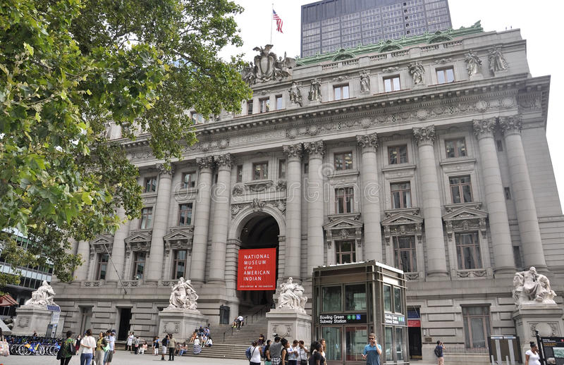 New York City august 3rd: Nationellt indianmuseum från Manhattan i New York royaltyfri foto