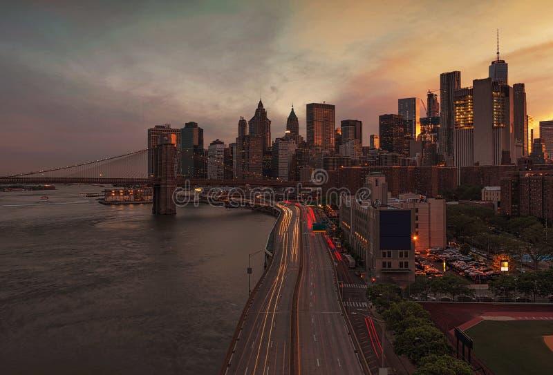 New York City bei Sonnenuntergang, USA lizenzfreies stockfoto