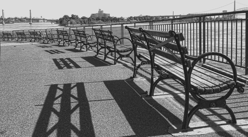 New York City benches overlooking the water royalty free stock photography