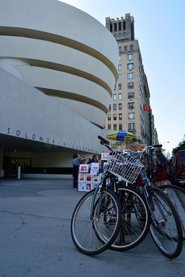 New York City. Bikes parked in front of the Guggenheim Museum in Manhattan royalty free stock photo