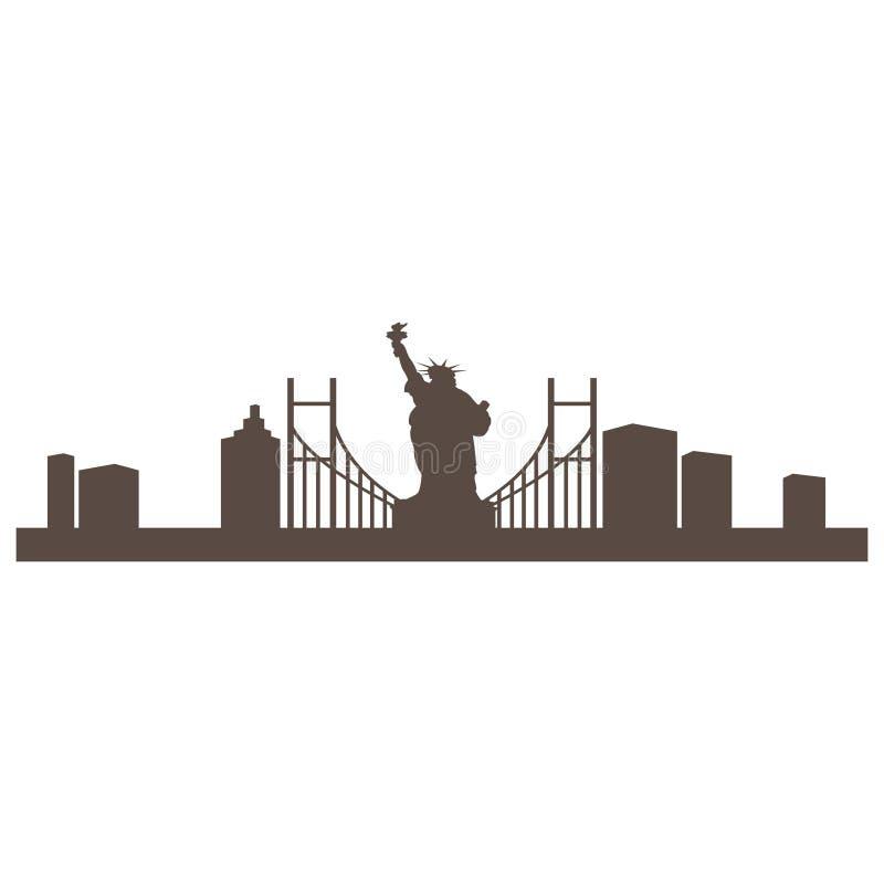 New York City bild i vektortyp royaltyfri illustrationer
