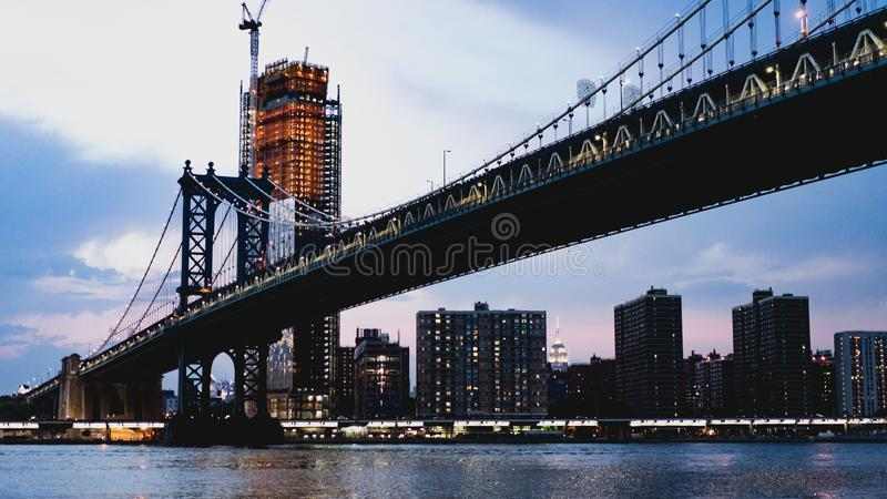 New York City bridge on morning royalty free stock photo