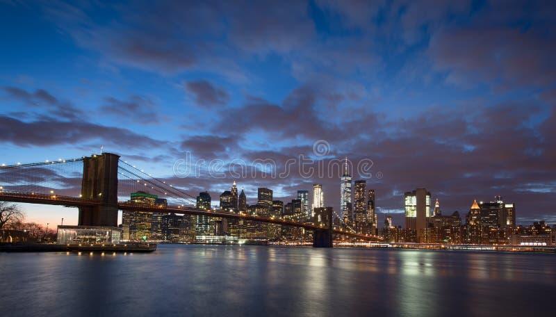 New York City and Brooklyn Bridge stock photography
