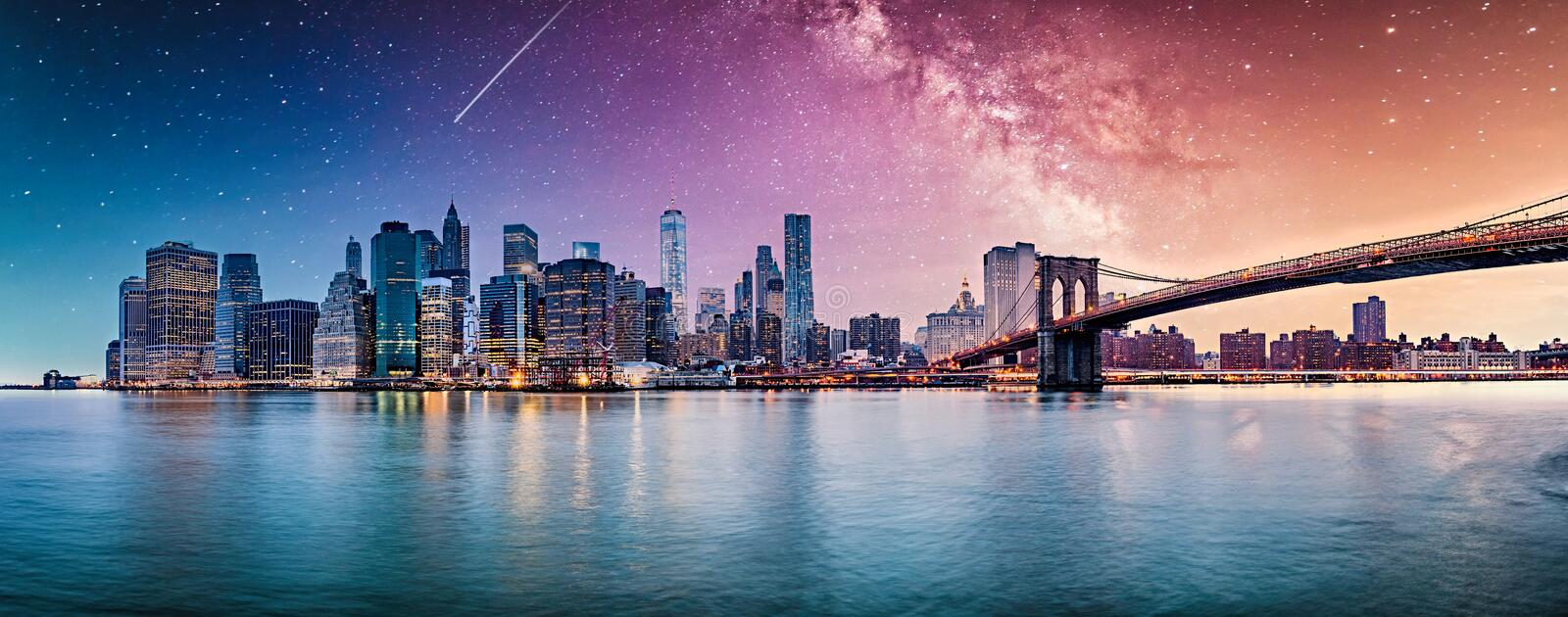 New York city sunset  panorama stock images