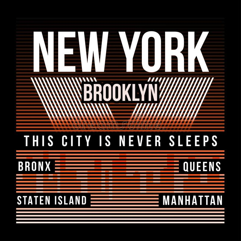 New York City Brooklyn typografi för t-skjorta tryck Silhouette av staden T-tröjadiagram vektor illustrationer