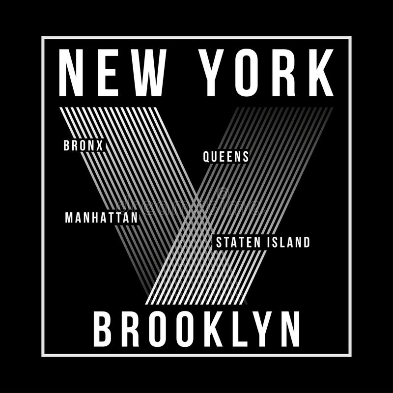 New York City Brooklyn typografi för t-skjorta tryck T-tröjadiagram royaltyfri illustrationer