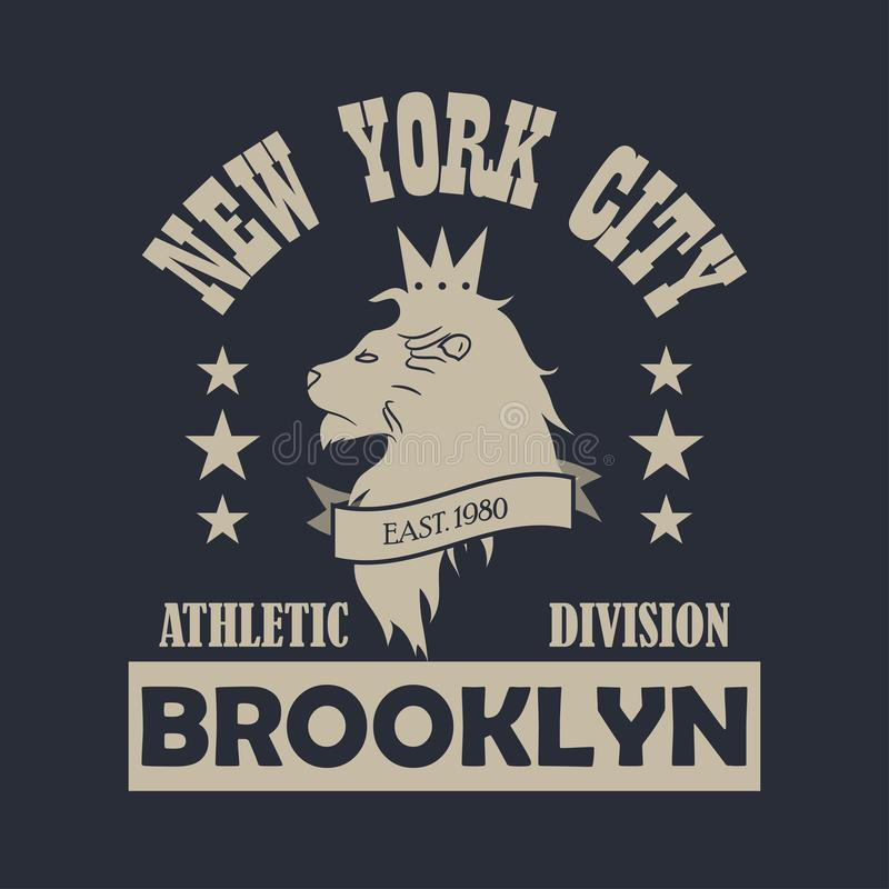New York city, Brooklyn typography print with lion. Design clothes, sportswear, t-shirt. Vector. vector illustration