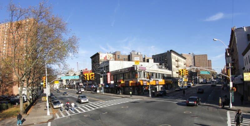 New york city architecture buildings, amsterdam av. bronx. New York city buidings and skycrappers, beginning of bronx , manhattan avenue stock photos