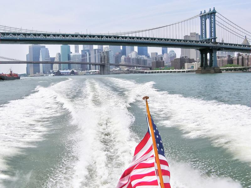 New York City buildings in downtown Manhattan from a boat royalty free stock photo