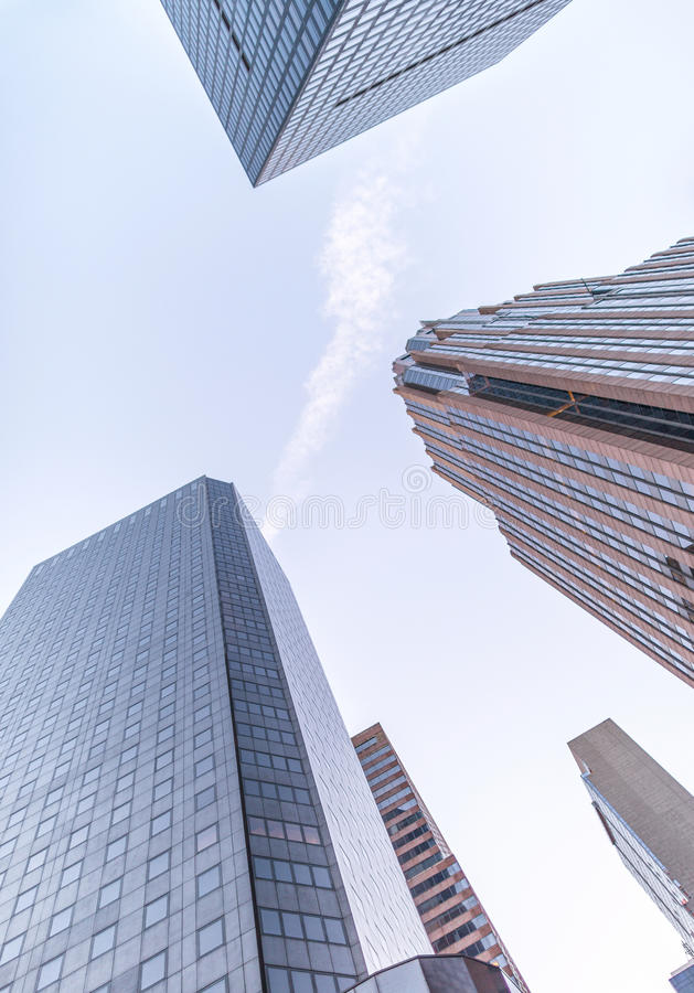 New York City buildings upward view from street.  stock image