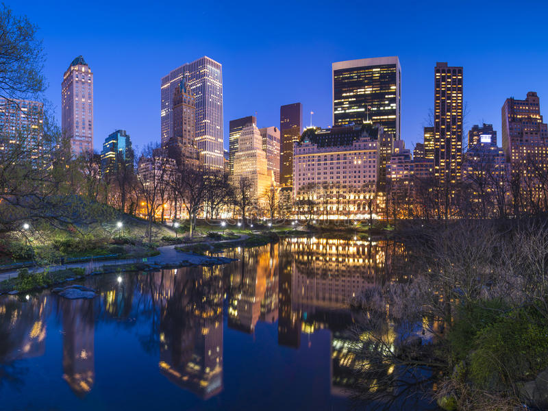 New York City Central Park South Skyline stock images