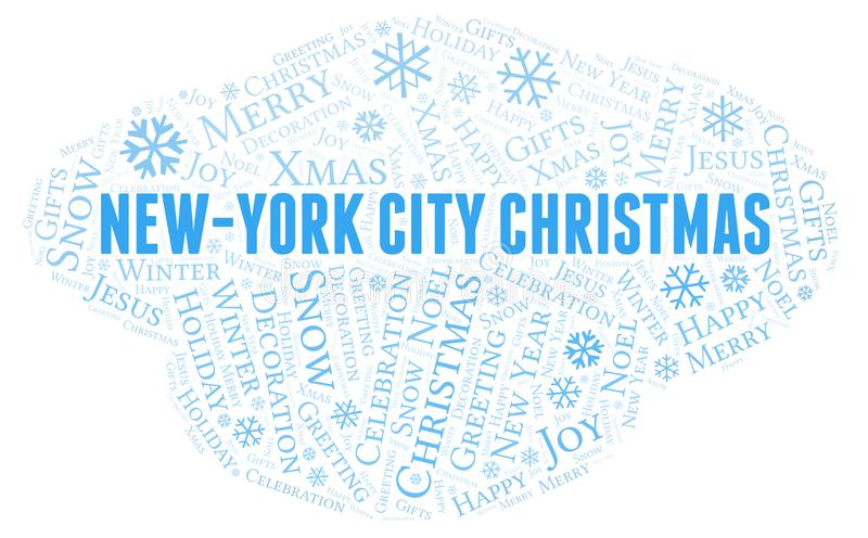 New York City Christmas word cloud. Wordcloud made with text only royalty free illustration