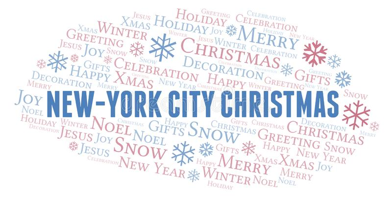 New York City Christmas word cloud. Wordcloud made with text only vector illustration