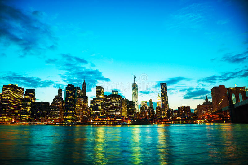 Download New York City Cityscape At Sunset Stock Photo - Image: 33013552
