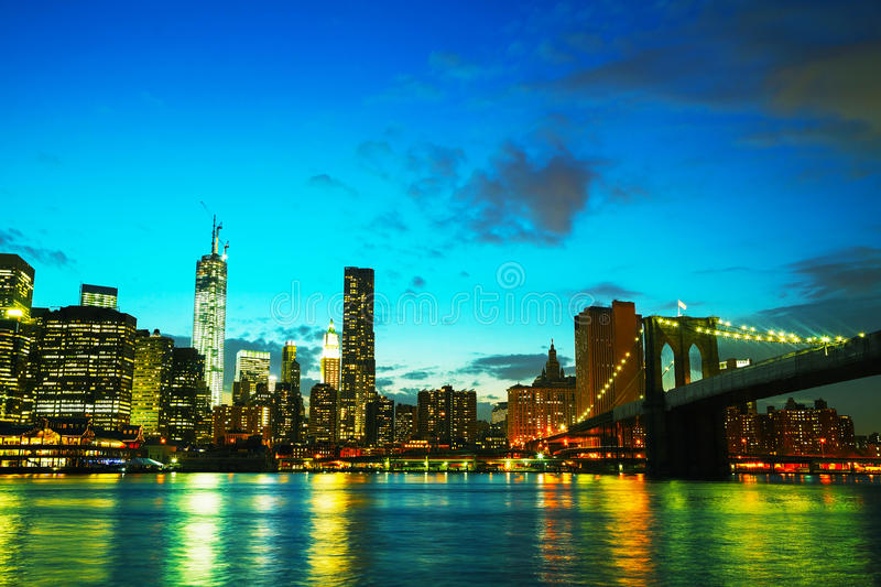 New York City Cityscape At Sunset Royalty Free Stock Image