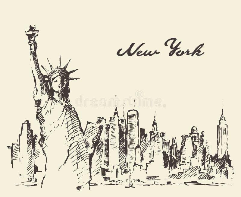 New York City con la estatua del bosquejo del vector de la libertad stock de ilustración