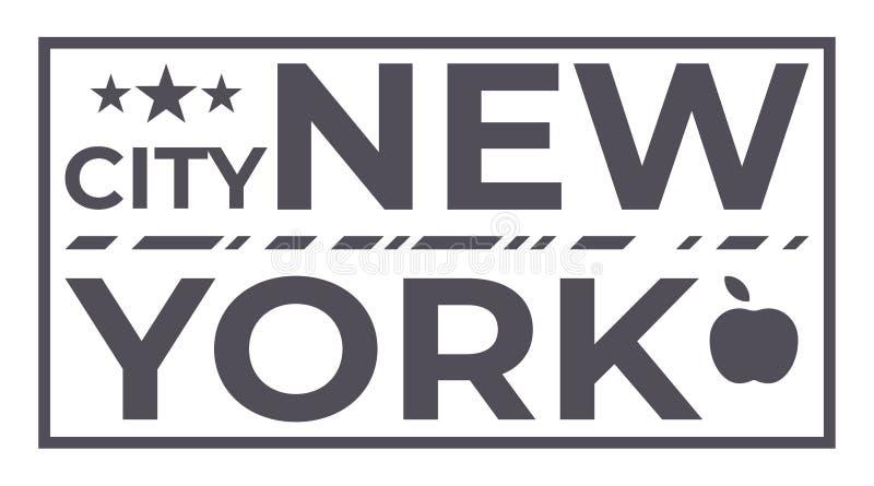 New York City con tres símbolos del icono de las estrellas y de la manzana Impresión tipográfica de la camiseta del vector Ejempl stock de ilustración