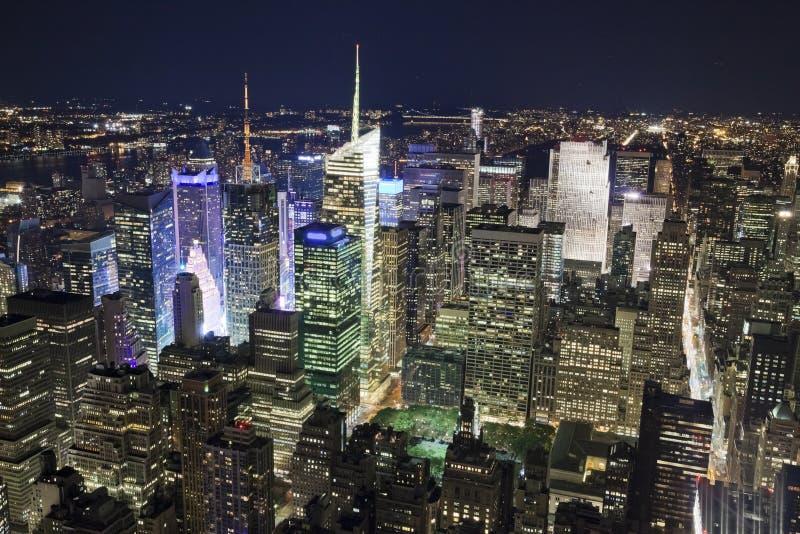 New York City de la ville haute pendant la nuit photographie stock