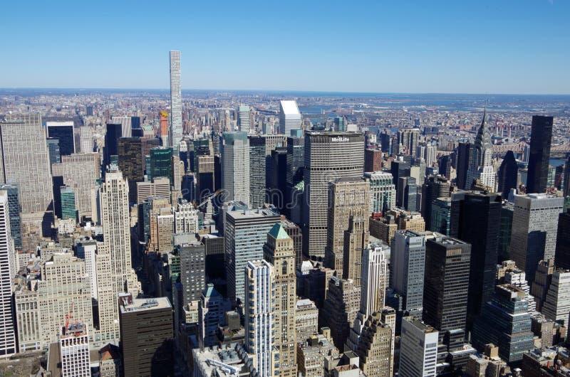 NEW YORK CITY - 5 DE MARÇO: Opinião aérea da arquitetura da cidade de Manhattan, o 5 de março de 2017 em New York, EUA foto de stock