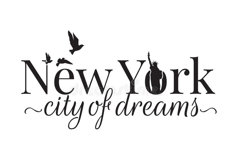 New York City des rêves, exprimant la conception, décalques de mur, statue de la liberté illustration libre de droits