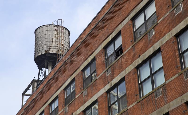 New York city. Detail of New-York city residential rooftop water tank royalty free stock images