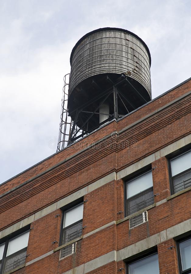 New York city. Detail of New-York city residential rooftop water tank royalty free stock photo