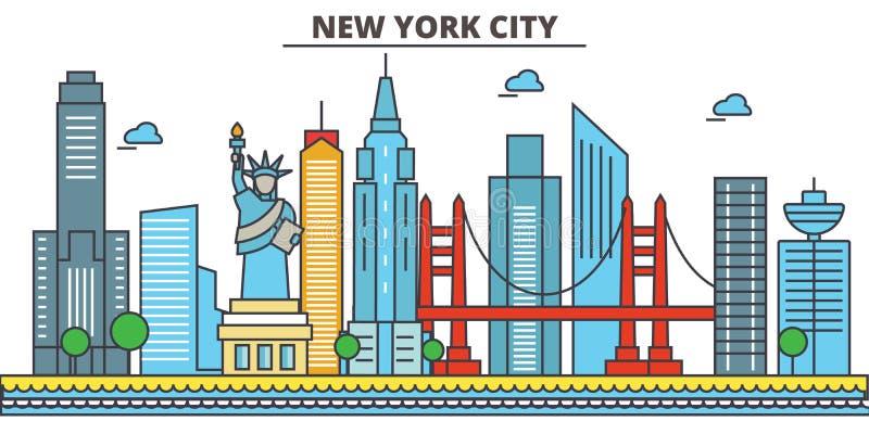 New York New York City din vektor för horisont för bakgrundsstadsdesign stock illustrationer