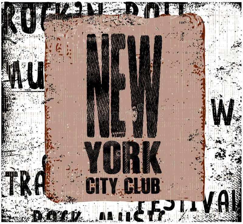 New York City Diseño del vintage Fondo del Grunge Tipografía, t stock de ilustración
