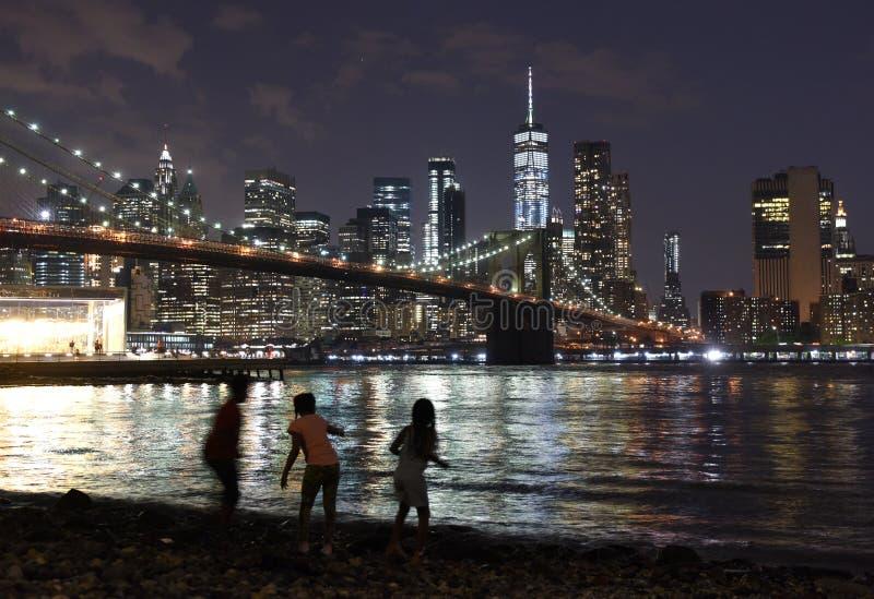 New York City, distrito financiero en Manhattan más baja con Brookl fotografía de archivo libre de regalías