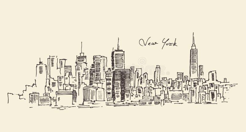 New York city engraving illustration royalty free illustration