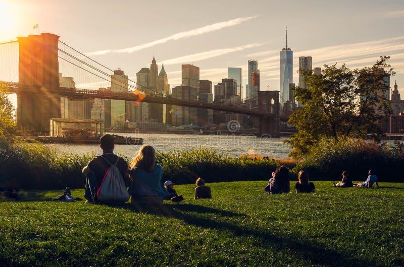 New York City, Etats-Unis September-28-2017, pont de Brooklyn un jour ensoleillé photos stock