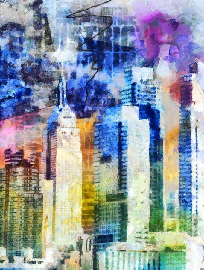 New York City färgrikt abstrakt begrepp stock illustrationer