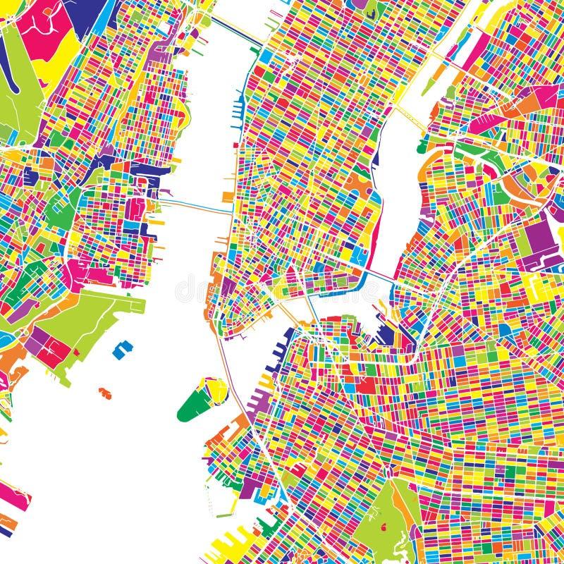 New York City Förenta staterna, färgrik vektoröversikt vektor illustrationer