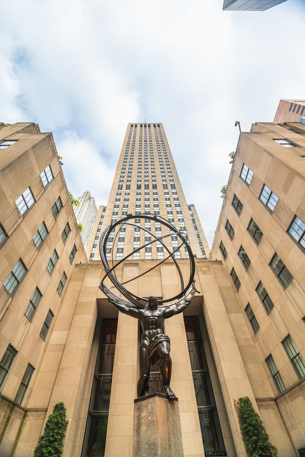 New York City, Fifth Avenue, Rockefeller Plaza. The Statue of Atlas in front of the Rockefeller Center stock images