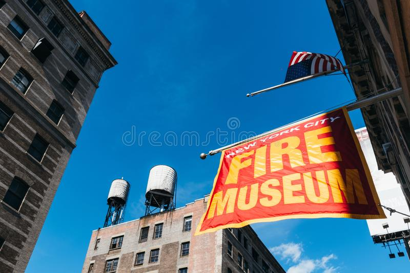 New York City Fire Museum in Tribeca. New York City, USA - June 25, 2018: Low angle view of New York City Fire Museum in Tribeca North District royalty free stock images
