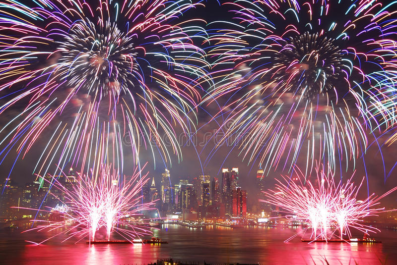 New York City fireworks show royalty free stock images
