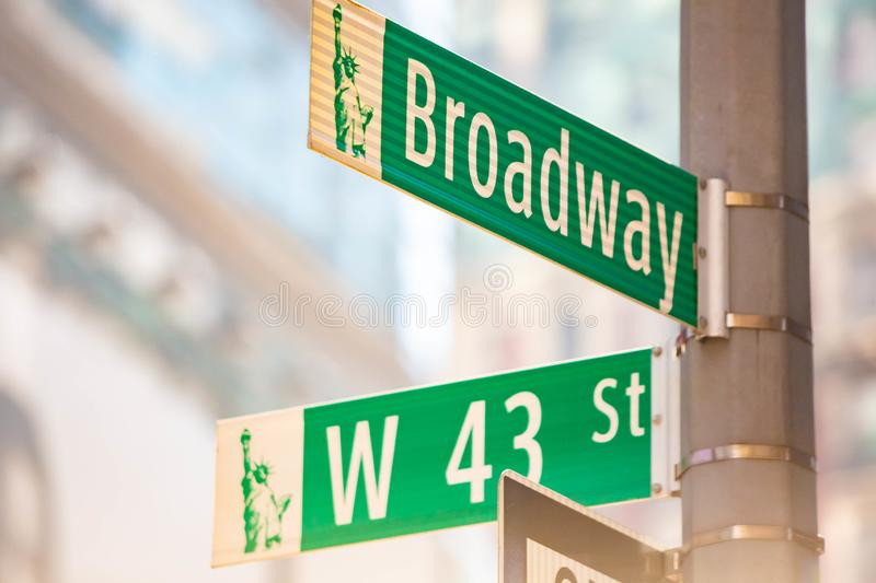New York City green street signs midtown. At day stock images
