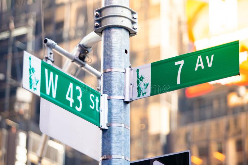 New York City green street signs midtown. At day royalty free stock photography