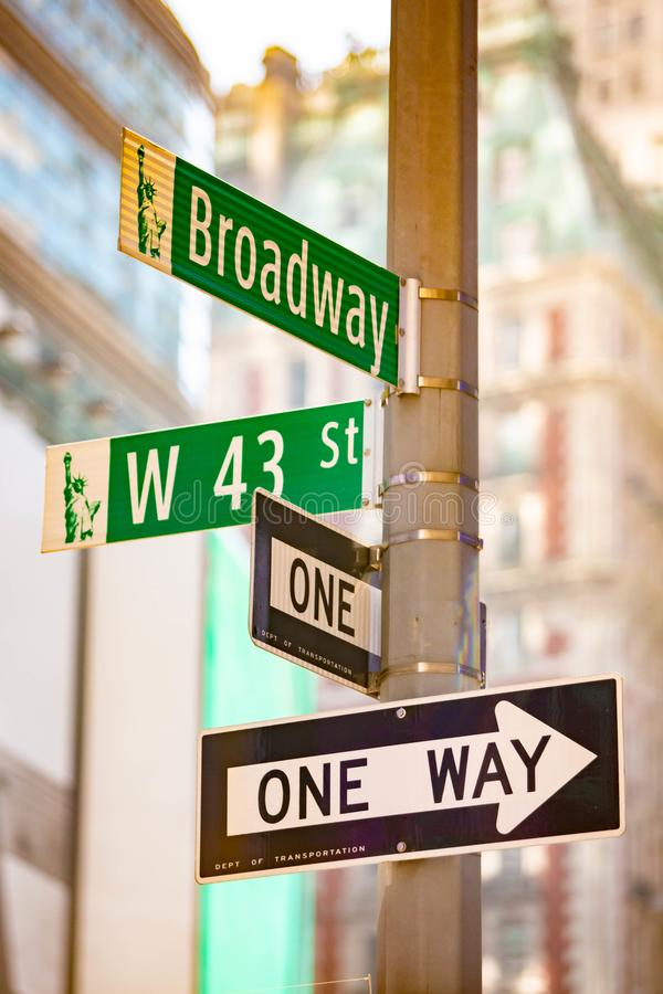 New York City green street signs midtown. At day stock image