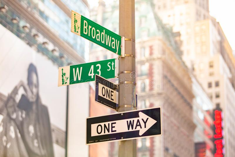 New York City green street signs midtown. At day stock photography