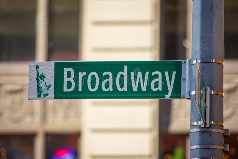 New York City green street signs midtown. At day royalty free stock image
