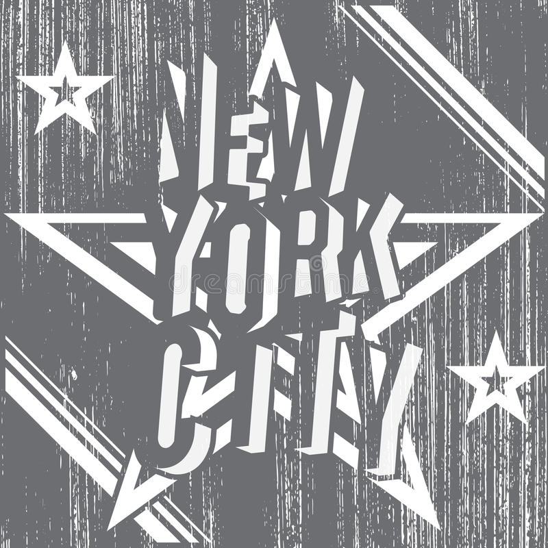 New York City grunge typography poster, t-shirt Printing design, vector Badge Applique Label.  royalty free illustration