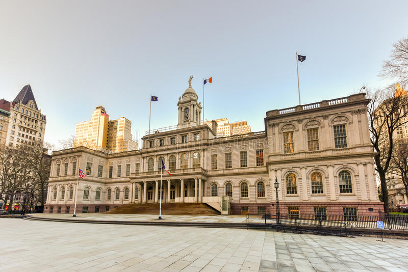 New York City Hall. The seat of New York City government, located at the center of City Hall Park in the Civic Center area of Lower Manhattan, between Broadway stock photography