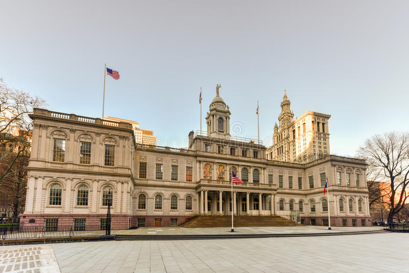 New York City Hall. The seat of New York City government, located at the center of City Hall Park in the Civic Center area of Lower Manhattan, between Broadway royalty free stock photos