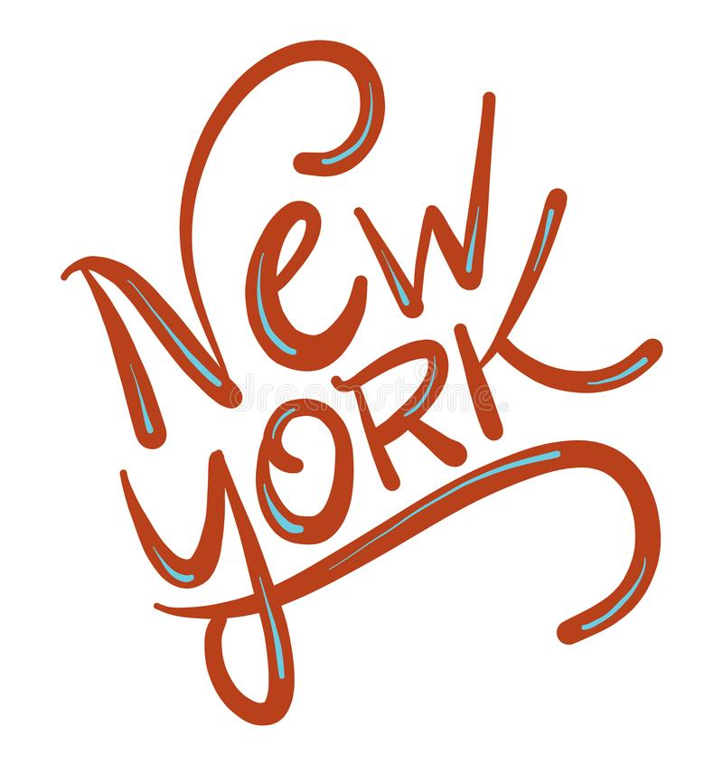 New York city hand drawn vector lettering. New York city hand drawn vector lettering isolated in white background stock illustration
